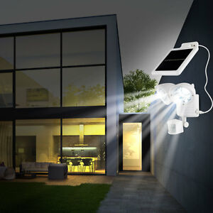 led solar au en wand leuchte mit bewegungsmelder sensor wei 2er spot lampe akku ebay. Black Bedroom Furniture Sets. Home Design Ideas