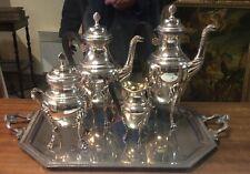 service a café en metal argenté de style empire grand modele 5 pieces