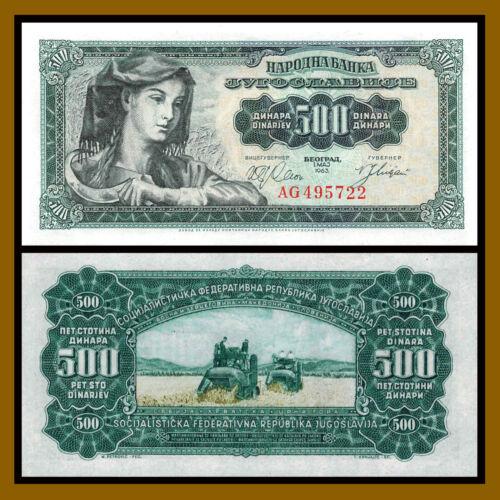 Yugoslavia 500 1000 Dinara 1963 P-74//75 Unc 2 Pcs Set