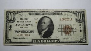 10-1929-Jamestown-New-York-NY-National-Currency-Bank-Note-Bill-Ch-548-Fine