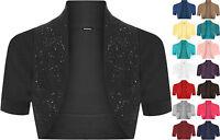 New Womens Beaded Short Sleeve Ladies Cropped Shrug Bolero Cardigan Top 8-14