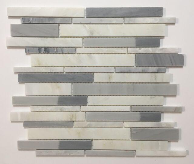 American Olean Genuine Stone Ice Gray 11 X 13 Linear Mosaic Wall Tile 10 Pcs