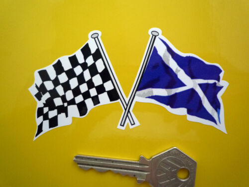 "SCOTTISH SALTIRE /& Chequered Flag STICKERS 4/"" Pr Classic Car Motorcycle Scotland"