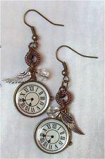 ^ V ^ pendiente * Clock * steampunk * LARP * medieval * Wings * tricolor * colgadores * alas * reloj ^ V ^