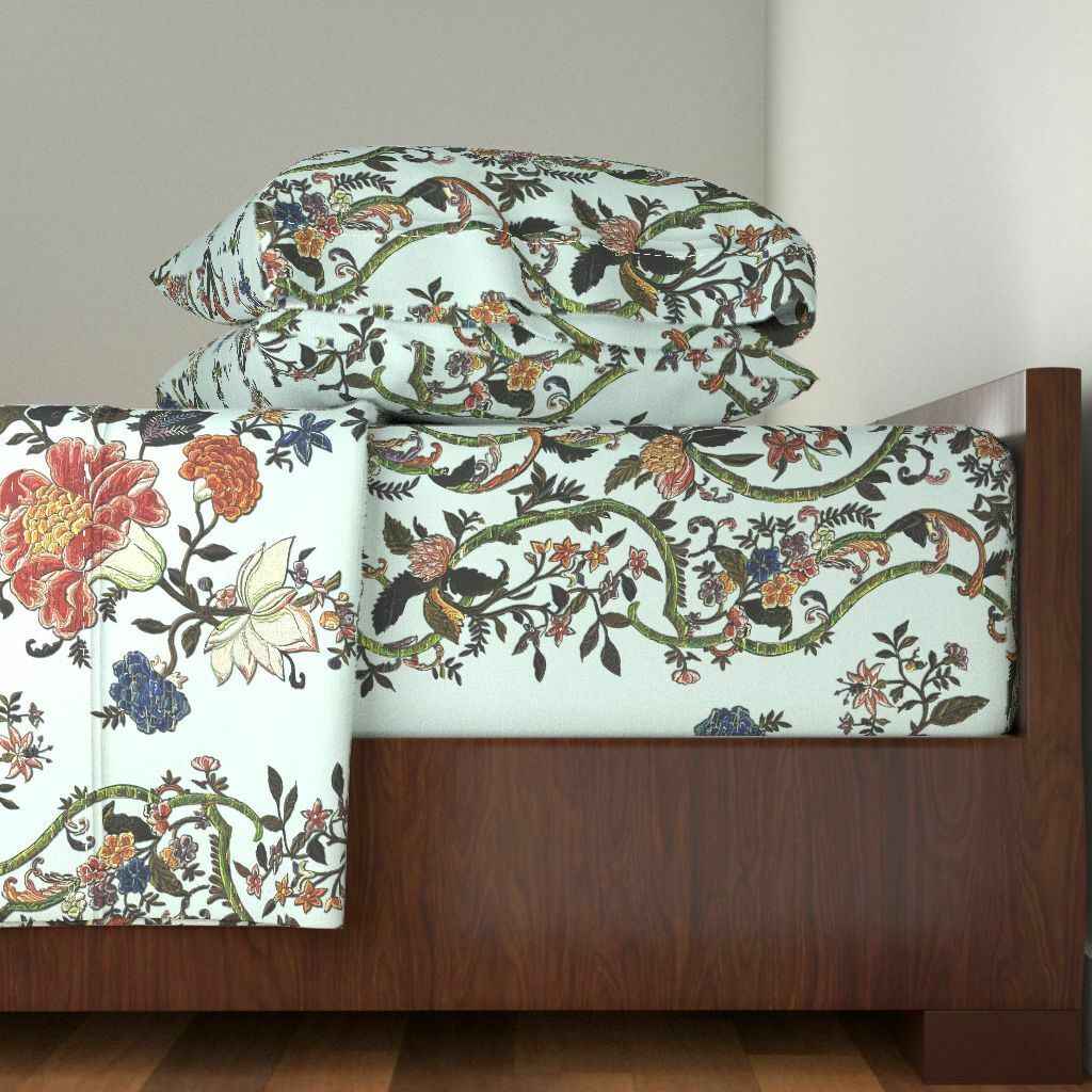 Baroque Georgian Floral Reprint 100% Cotton Sateen Sheet Set by Roostery