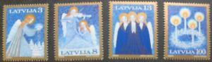 Christmas-angels-stamps-Latvia-1994-Christmas-wreath-SG-ref-412-415-MNH