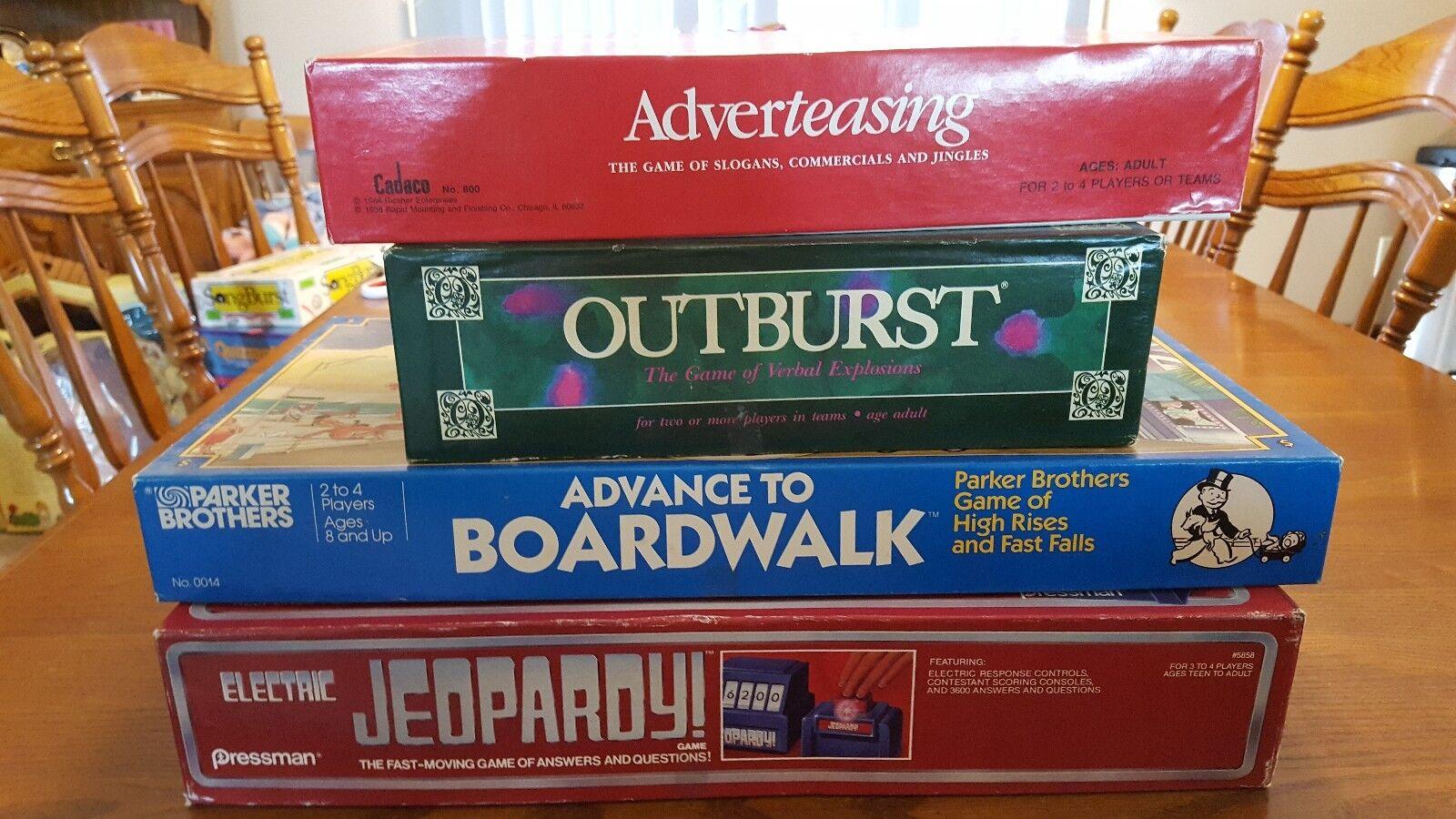 Lot of 4 Vintage games ELECTRONIC JEOPARDY ADVANCE TO BOARDWALK OUTBURST ADgreenE