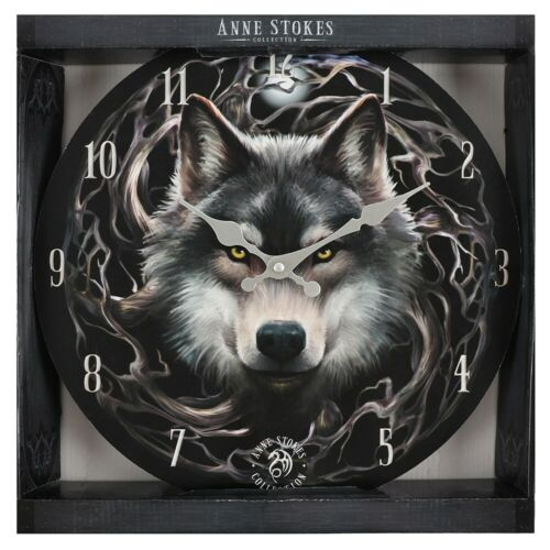 Night Forest Wall Clock By Anne Stokes Wolf Moon Vine Roots Fantasy Gothic