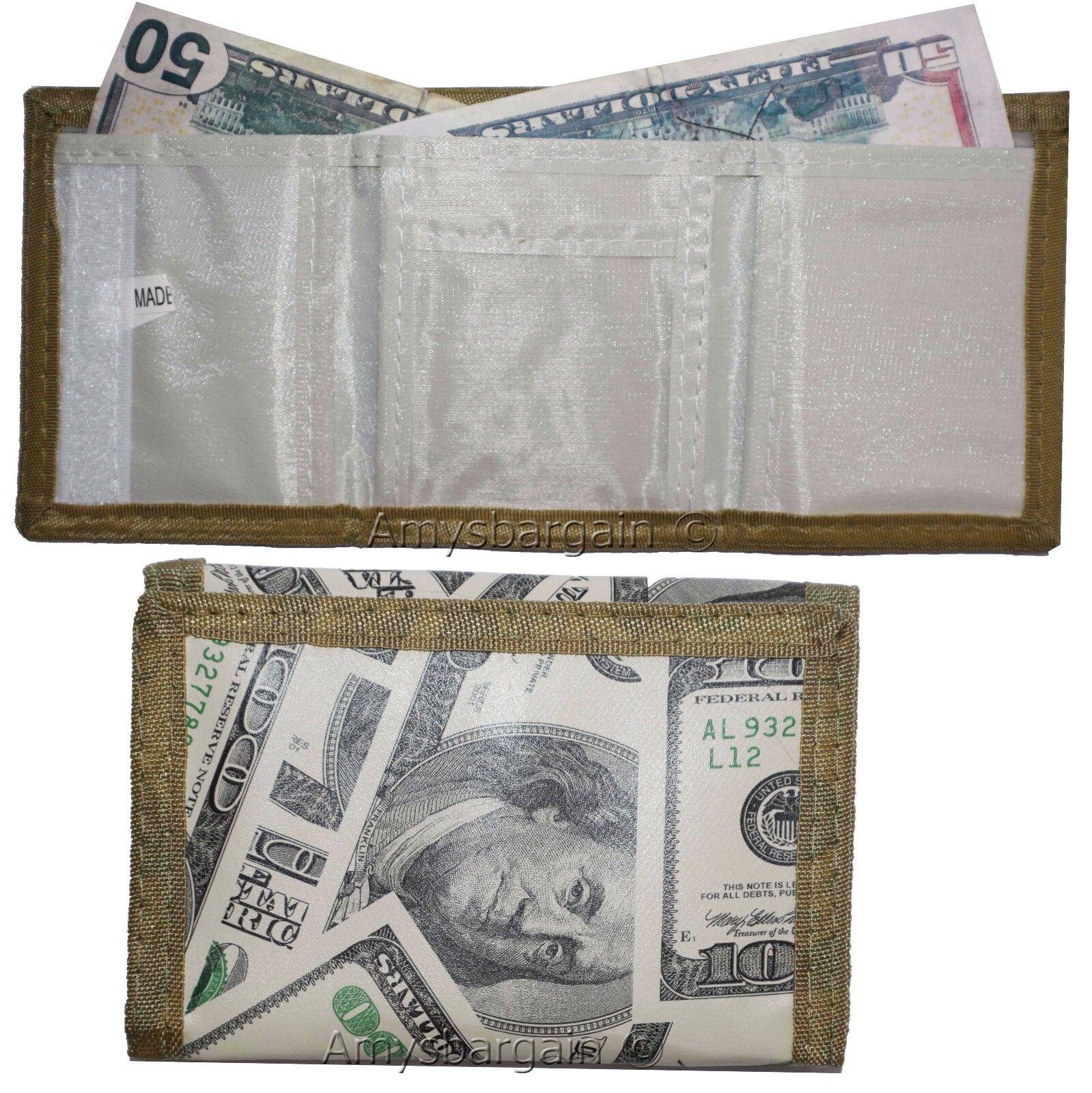 Lot of 6 New men's Trifold wallet, open billfold wallet. 3 pocket man's wallet
