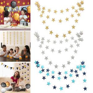 4M-Gold-Bunting-Garland-Hanging-Paper-Star-Garland-Banner-Birthday-Wedding-Party