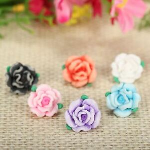 50pclot 13mm Cute Resin Small Polymer Clay Fimo Rose Flower Beads