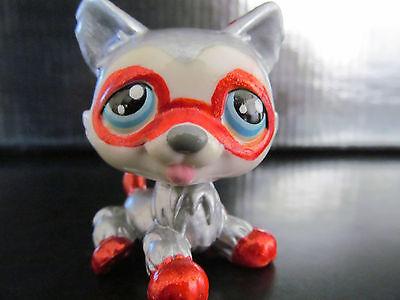 Littlest pet shop husky dog silver superhero custom hand painted