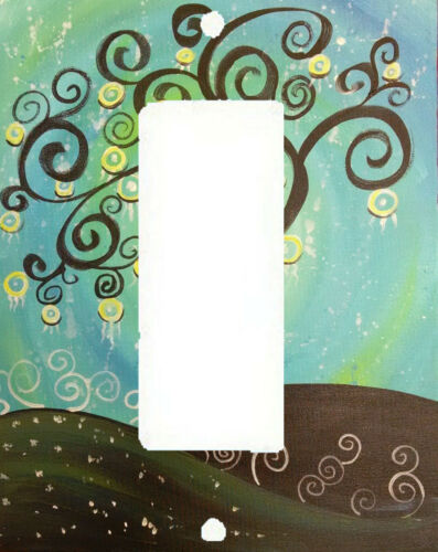 CHOCOLATE BROWN TREE SWIRL GREEN BLUE YELLOW ART SWITCH PLATE COVER HOME DECOR