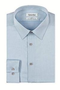 $99 CALVIN KLEIN Men BLUE SLIM-FIT NON-IRON LONG SLEEVE DRESS SHIRT 15 32/33