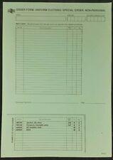 British Rail Uniform Order Form, Special Order Non Personal, BR8694 Unused BR