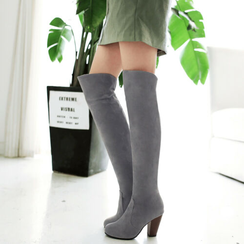 Women/'s High Heel Shoes Black//Blue//Red//Grey Faux Suede Round Toe Over Knee Boots