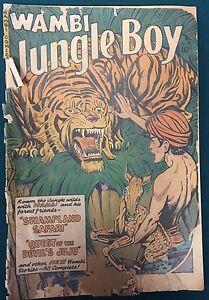 WAMBI-JUNGLE-BOY-9-1950-Fiction-House-Comics-tiger-cover-POOR