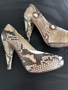 BALLY-peep-toe-heels-pumps-python-AMAZING-size-7-5