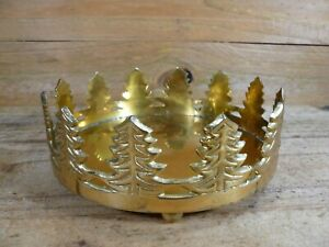 Vintage-Brass-Christmas-Tree-Candle-Holder-for-Large-6-034-Diameter-Candle
