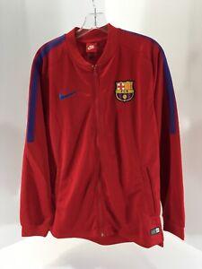 Nike-Mens-FCB-Barcelona-Football-Dri-fit-Zip-Track-Jacket-Red-blue-Large-NWT