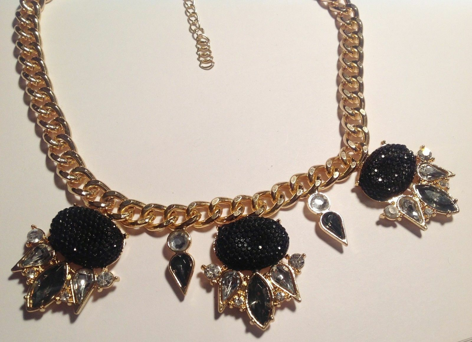 Collier moderne moderne moderne maille gourmette Colore or déco strass cabochon nero 4419 ba8864