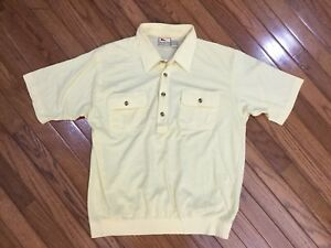Vintage-Haband-Men-039-s-Yellow-Casual-Retro-1-4-Button-Front-Shirt-2-Pockets-Size-L