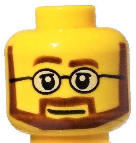 ☀️NEW Lego Minifigure Head Beard Brown Angular white eyes w// glasses