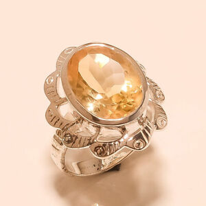 Natural Spanish Citrine Filigree Ring 925 Sterling Silver Handmade Fine Jewelry