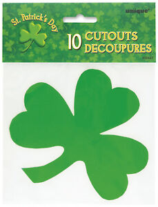 ST-PATRICK-039-S-DAY-PARTY-SUPPLIES-10-PACK-SHAMROCK-CUTOUTS-FOR-ST-PATRICK-039-S-DAY