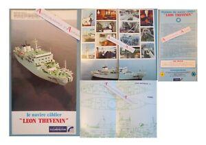 Navire-Cablier-LEON-THEVENIN-plaquette-PTT-cables-sous-marins-Toulon-Le-Havre