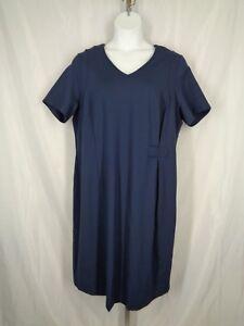 Ulla-Popken-Dress-Size-20-Blue-Ponte-Knit-V-Neck-Short-Sleeve-New