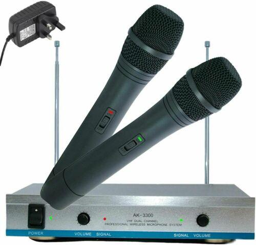 RLAKY AK3300 Dual 2 VHF Wireless Cordless Microphones Receiver DJ Karaoke Disco