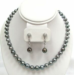 8151bcc32effb Details about SOUTH SEA CULTURED 9mm BLACK PEARL NECKLACE & 18K GOLD  DIAMOND 10mm EARRING SET