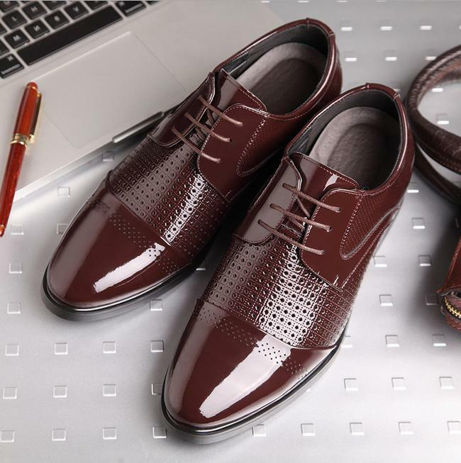 Mens Dress formal hollow out breathable shoes patent leather elecator increase