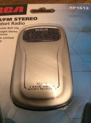 RCA RP1612 AM//FM Stereo Headset Radio Detachable Belt Clip Lightweight Headphone