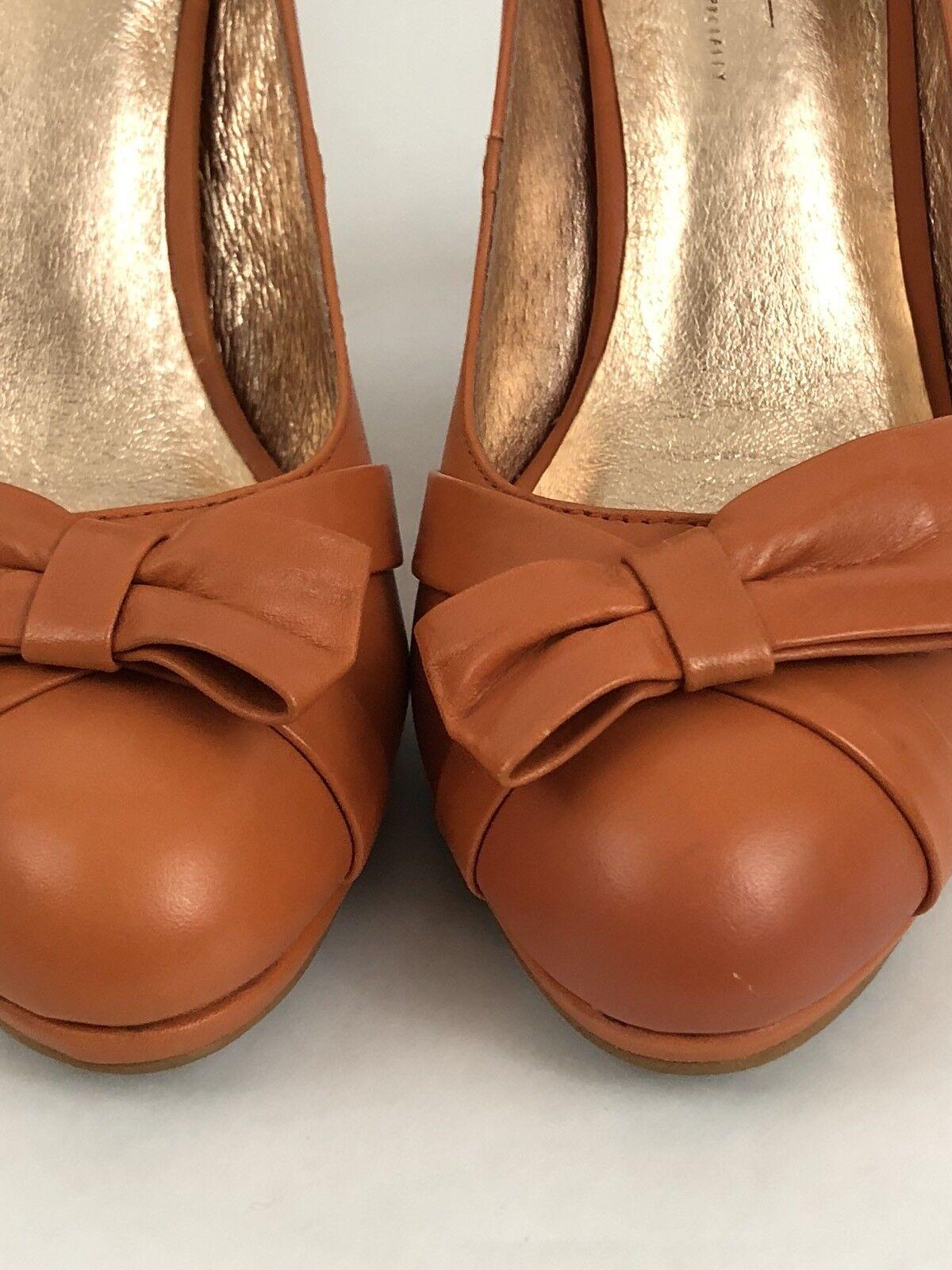 Anthropologie MIss Leather Albright Women Platform Heels Orange Leather MIss Bow Size 7.5 a3b39c