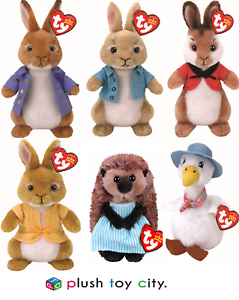 TY BEANIE PETER RABBIT & FRIENDS SOFT TOYS - 7  (18CM) LICENCED, NEW MOVIE