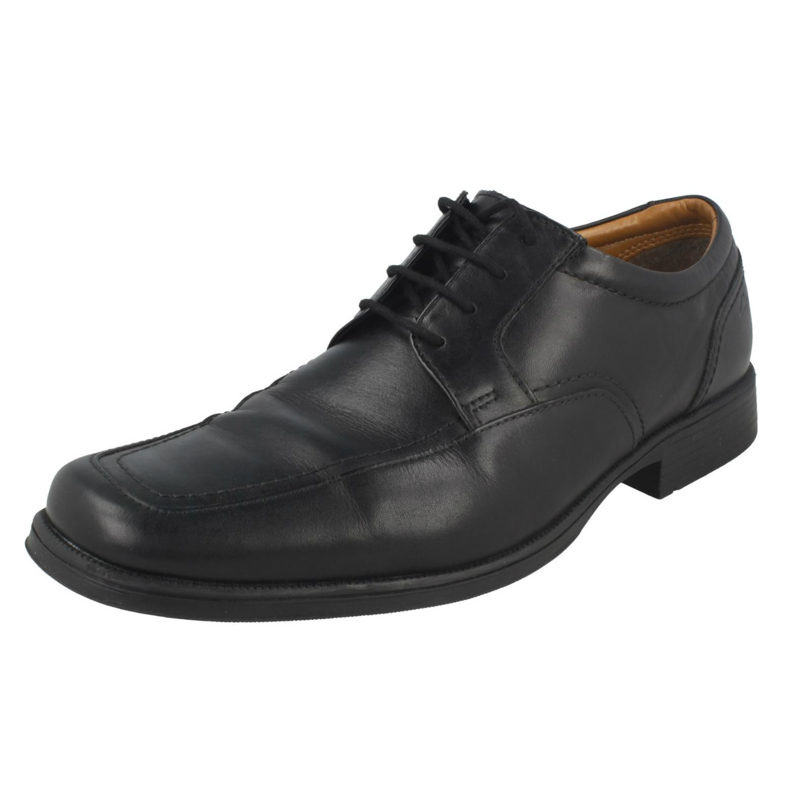 Uomo Clarks Cushioning Formal SquaROT Toe Lace Up Leder Schuhes Huckley Spring