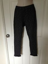 Miss Selfridge Black & White Cropped Trousers, Stretch Waist, Size 10