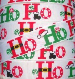 HO-HO-HO-Christmas-7-8-grosgrain-ribbon-hair-bows-keychains-FREE-SHIP