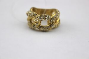 BANANA-REPUBLIC-Gold-Tone-Woven-Link-Rhinestone-Crystal-Pave-Ring-7-Signed-New