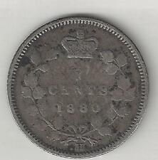 CANADA,  1880-H,   5 CENTS,  SILVER,  KM#2,  FINE