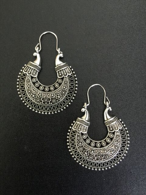 Earrings Ethnic Style Fl Hoop Silver Moroccan Boho Tribal Bohemian A1049