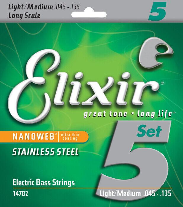 Elixir 14782 Nanoweb Bass Stainless Steel 5 String MED-L