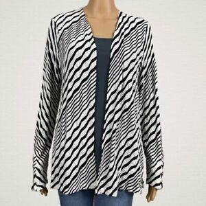 Chico's Travelers Textured Stripe Open Front Cardigan Jacket 1 MEDIUM 8 10