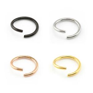 Fake-Piercing-Ring-Nose-Lip-Ear-Body-SILVER-BLACK-GOLD-Various-Sizes-amp-Gauges