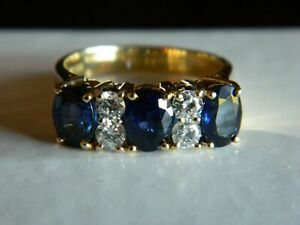 5-26CT-Oval-Cut-Blue-Sapphire-amp-Diamond-3-Stone-Band-Ring-14k-Yellow-Gold-Over
