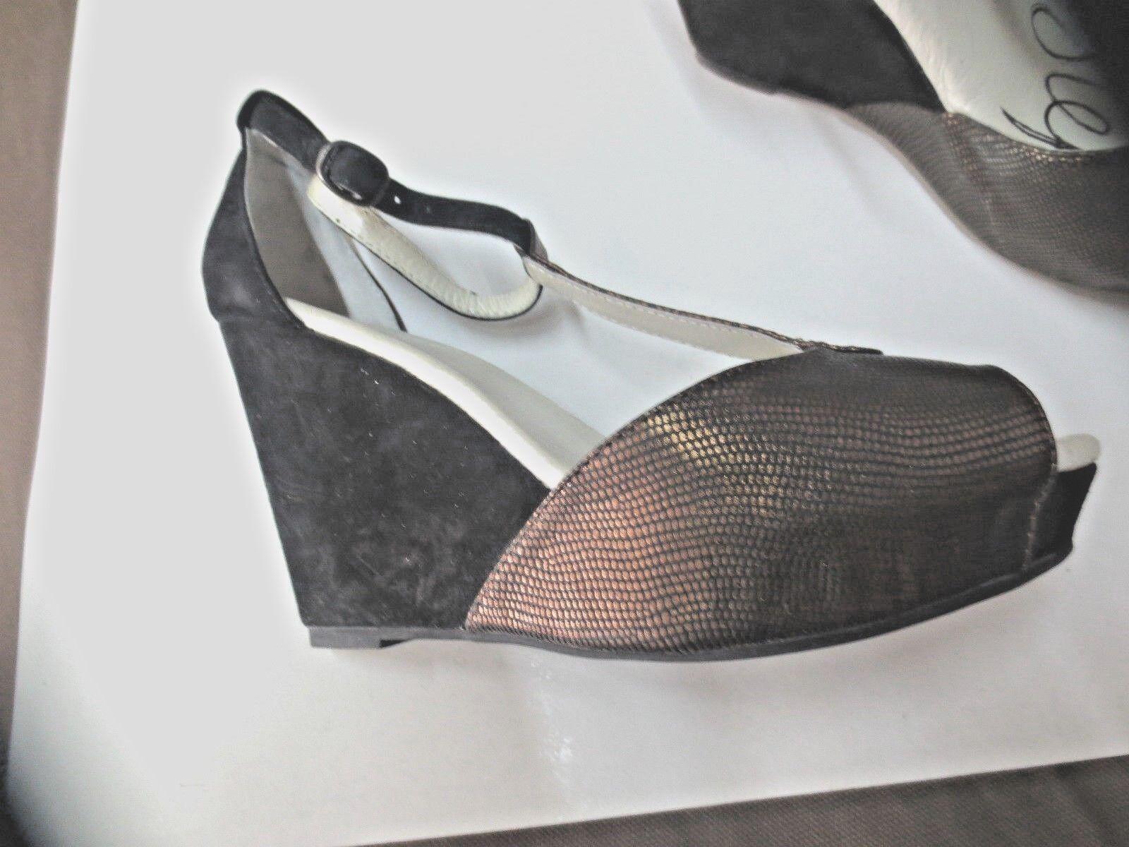 One step sandale compensée NEUVE 9cm plato 3cm cuir NEUVE compensée Valeur 149E Point 36,37,39 63c172