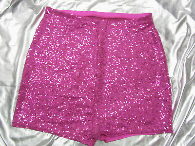 Rosa a vita alta shorts hot pants PAILLETTES ROSA XS S M L XL XXL XXXL