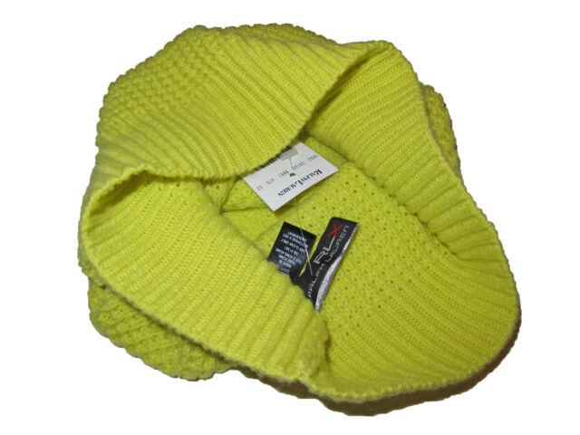 f774fbb16a8 RLX Ralph Lauren Neon Yellow Cashmere Wool Waffle Knit Beanie Skull Cap  Polo Hat